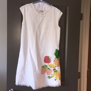 White shift dress with fruit pattern